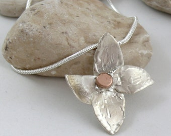 sterling silver floral pendant goldfiled