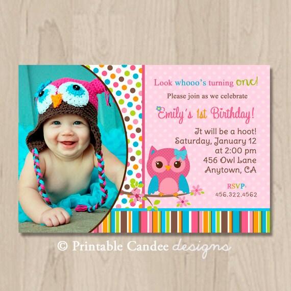 Pink Girl Owl Birthday Invitation Owl Birthday By