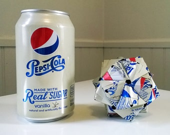 Vanilla Pepsi Can Origami Ornament.  Upcycled Recycled Repurposed Art