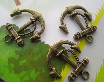 15pcs antique bronze anchor finding charm