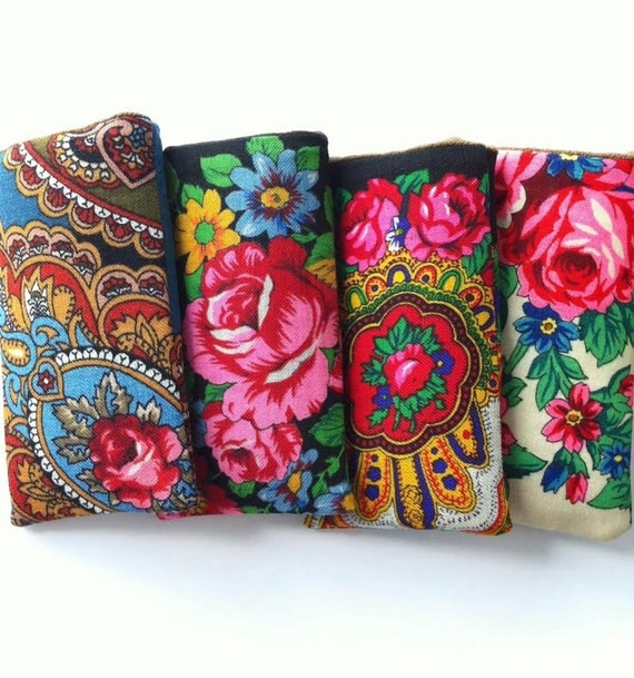 Neoprene padded iPhone 6 sleeve from traditional Russian shawl - Roses are Red, Violets are Blue