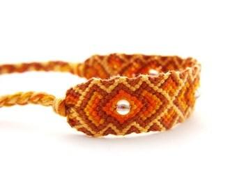 Handwoven Friendship Bracelet // Alternative Boho Folk Bracelet Gift for Best Friends // 100% Soft Egyptian Cotton HandKnotted Orange Wrap