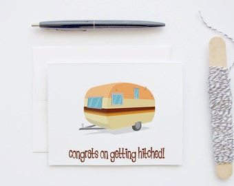 Congrats on Getting Hitched - Wedding Congratulations for the Camper or Hippie - Blank Greeting Card