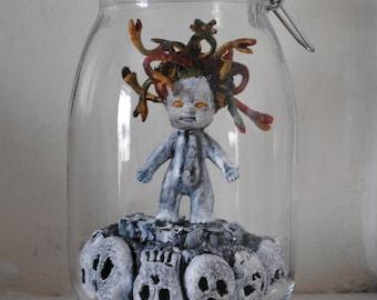 Baby Medusa Doll. Jar Art Assemblage.