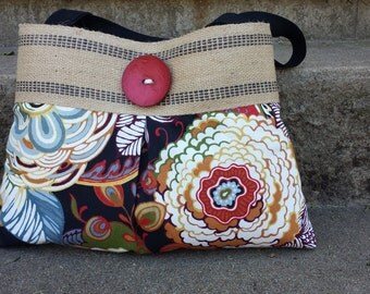 Handbag Tote Button Bag with Black and Red Floral and Jute Webbing