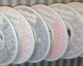 6 Custom Baby Closet Dividers Organizers Shabby Elegance Soft Pink and Grey CD401 - Custom Baby Closet Clothes Organizers