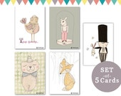 set of 5 cards - animals