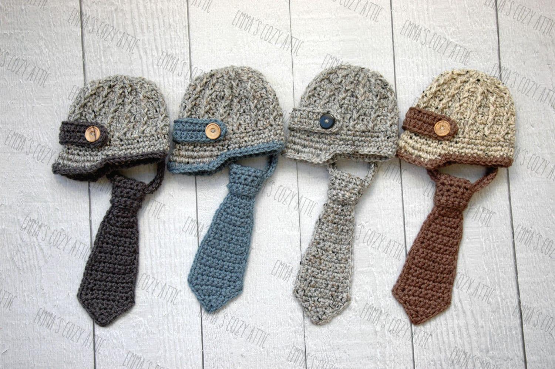 Crochet Newborn Outfits : Newsboy hat and necktie newborn baby boy newsboy by emmascozyattic