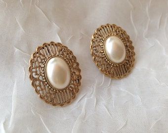 Vintage Jewelry Gold Tone Earrings with Faux Pearl Center