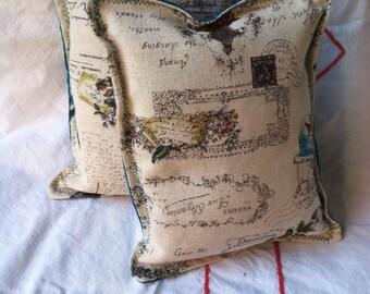 Printed linen lavender sachets birds flowers script