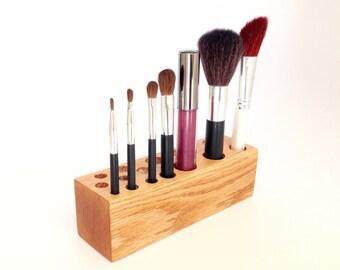 Makeup Brush Organizer Oak Vanity Display