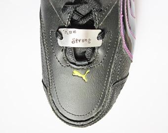 Runners Shoe Tags, Shoe ID Tags, Motivation, Marathon Runner, Run Strong, Running Shoe Tag for Runners Marathon Jewelry Half Marathon Ultras