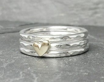 Little Sweetheart stacking ring set - with 9ct or 14ct gold heart & 2 plain rings. UK, custom made, hand made, jewellery