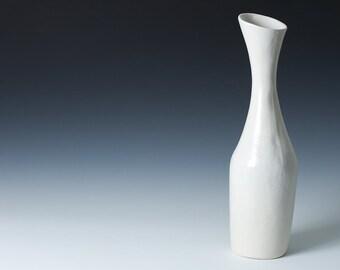 "75% off Second / Sale: White Satin Matte Stoneware Hourglass Flower Bud Vase 12"" high /  Unique flower vase for gift - Ceramic Pottery"