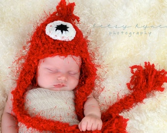 Red fuzzy monster Hat, photography prop, crochet hat, 0 to 3 months