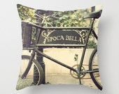SALE Pillow cover, bicycle pillow, bike pillow, spring decor, brown pillow, couch pillow, hipster gift, bicycle art, office decor,dorm decor