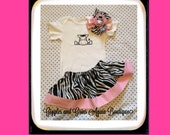 Little Zebra Embroidered Girls Twirl Skirt Set with OTT Zebra Hair bow - Available in sizes 6 to 24 months Bodysuit - 2 to 4 years