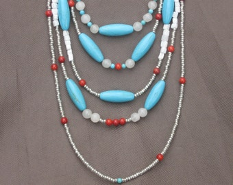 Necklace-Beaded Necklace-Gemstone Necklace-Gemstone Jewelry-Mixed Gemstone Necklace-Turquoise and Coral Necklace-Red White and Blue Necklace