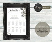 Table Seating Plan Poster - Baroque Wedding Range