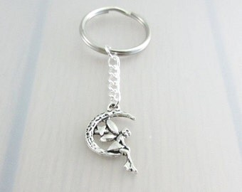 Silver Fairy On The Moon Keychain, Silver Crescent Moon Keyring, Fairy Charm Keychain, Star Moon Keyring