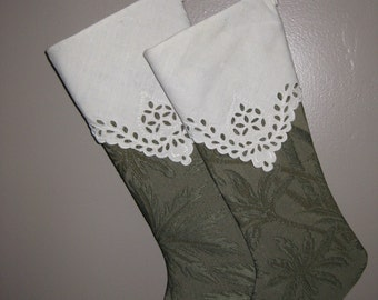 ON SALE..., Handmade Pair of Green Christmas Stocking with Vintage Lace
