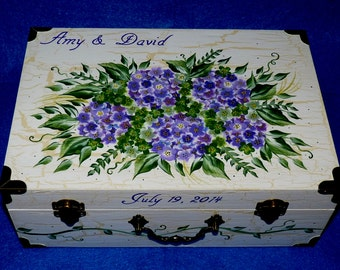 Custom Painted Wedding Keepsake Suitcase Box Personalized Wood Gift Card Box White