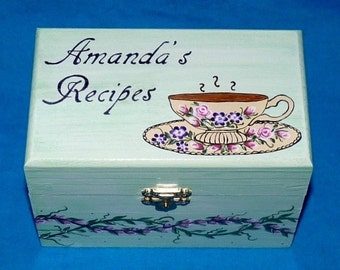 Decorative Wood Recipe Box Wooden Recipe Card Box Hand Painted Wood Box 3x5 Victorian Tea Cup Personalized 4x6