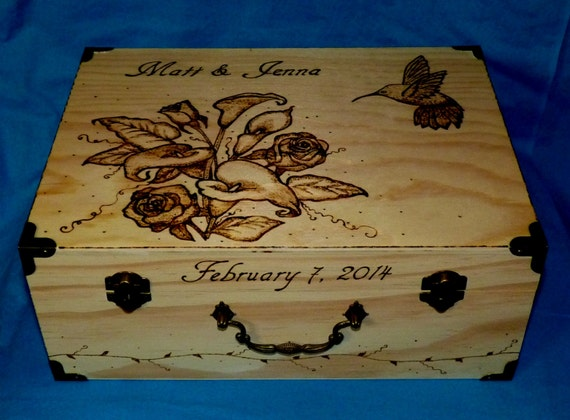 Decorative Wood Wedding Box Wood Burned Wedding Keepsake Box Wedding Box Hummingbird Rustic Wedding Memory Box Personalized Card Box Roses