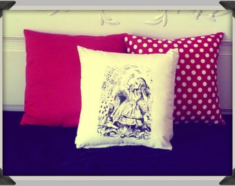 Screenprinted Alice in Wonderland, Alice with Cards Cushion handmade alternative Wedding Blacklight retro home decor