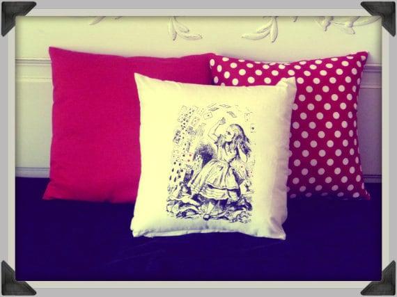Screenprinted Alice in Wonderland, Alice with Cards Cushion handmade alternative Wedding Blacklight retro home decor