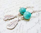 Silver Feather Earrings / Turquoise Tribal Earrings / SimplyJoli / Long Dangle Earrings