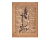 Book Art, Finger Spelling Sign Language Typography Print, 1800's Art Illustration & Dictionary Page, Letter F