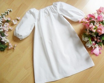 Simple short embroidery Christening Gown , 100% cotton,varioussizes / motives