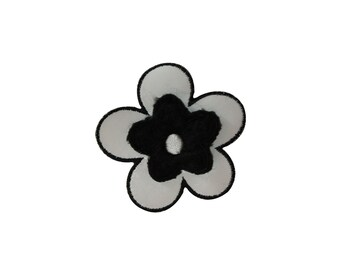 ID #6817 2 1/2IN White Black Flower Blossom Iron On Embroidered Patch Applique