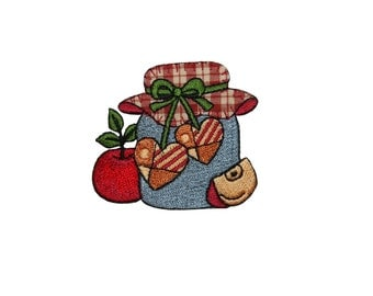 ID #7309 Apple with Jar and Heart Fruit Food Iron On Embroidered Patch Applique