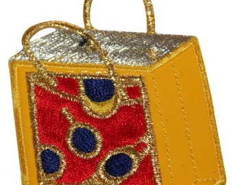 ID #8509 Yellow Mall Shopping Spree Bag Embroidered Iron On Applique Patch