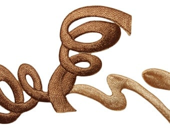 ID #8749 Brown Spiral Loop Twist Swirl Design Embroidered Iron On Applique Patch