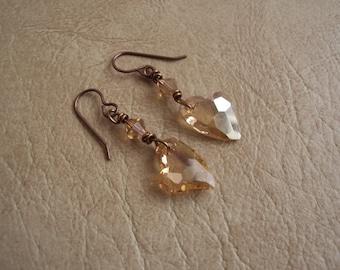 Heart Earrings.Crystal Heart Earrings. Swarovski Earrings.Gold Shadow Crystal Earrings.
