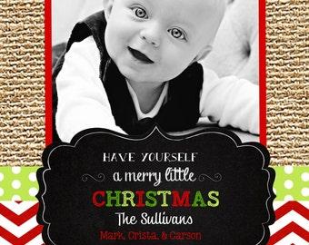 Chevron  Christmas  Cards -chalkboard-burlap