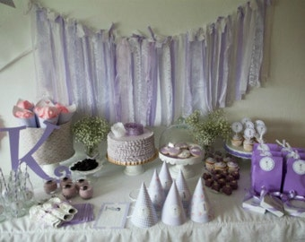 Lavender and Lace Fabric Garland