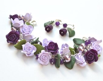 Lavender Royal Purple Rose Garden Bracelet and Earrings, Rose Garden Bracelet sets, Lavender Purple Rose Bracelet.