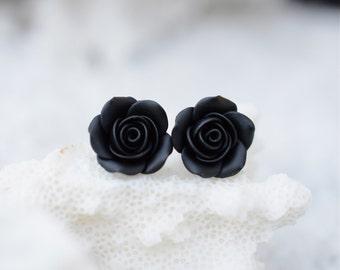Black Rose Post Earring, Black Rose Stud Earrings, Black Flower Earrings, Floral Earrings