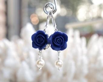 Navy Blue Rose Earrings, Navy Blue Flower Earrings, Navy Blue Earrings, Navy Blue Wedding Jewelry, Navy Blue Bridesmaid Earrings