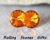 12mm Tangerine Swarovski Rivoli Rhinestone Stud Earrings-Tangerine Swarovski Crystal Studs-large Rivoli Stud Earrings-Rostone