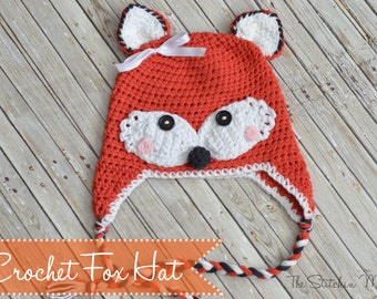 PDF Crochet Pattern - Crochet Fox Hat in Several Sizes
