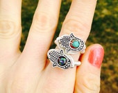 HAMSA ring - wire wrapped - any color