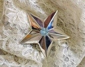 Sterling Silver Star of Texas Pendant with Specialty Cut Blue Topaz