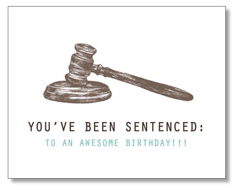 HILARIOUS LAWYER BIRTHDAY Card. Judge card. Law Student. Paralegal. Order in the Court. Eco & Handmade. Hand drawn card. Made in Brooklyn