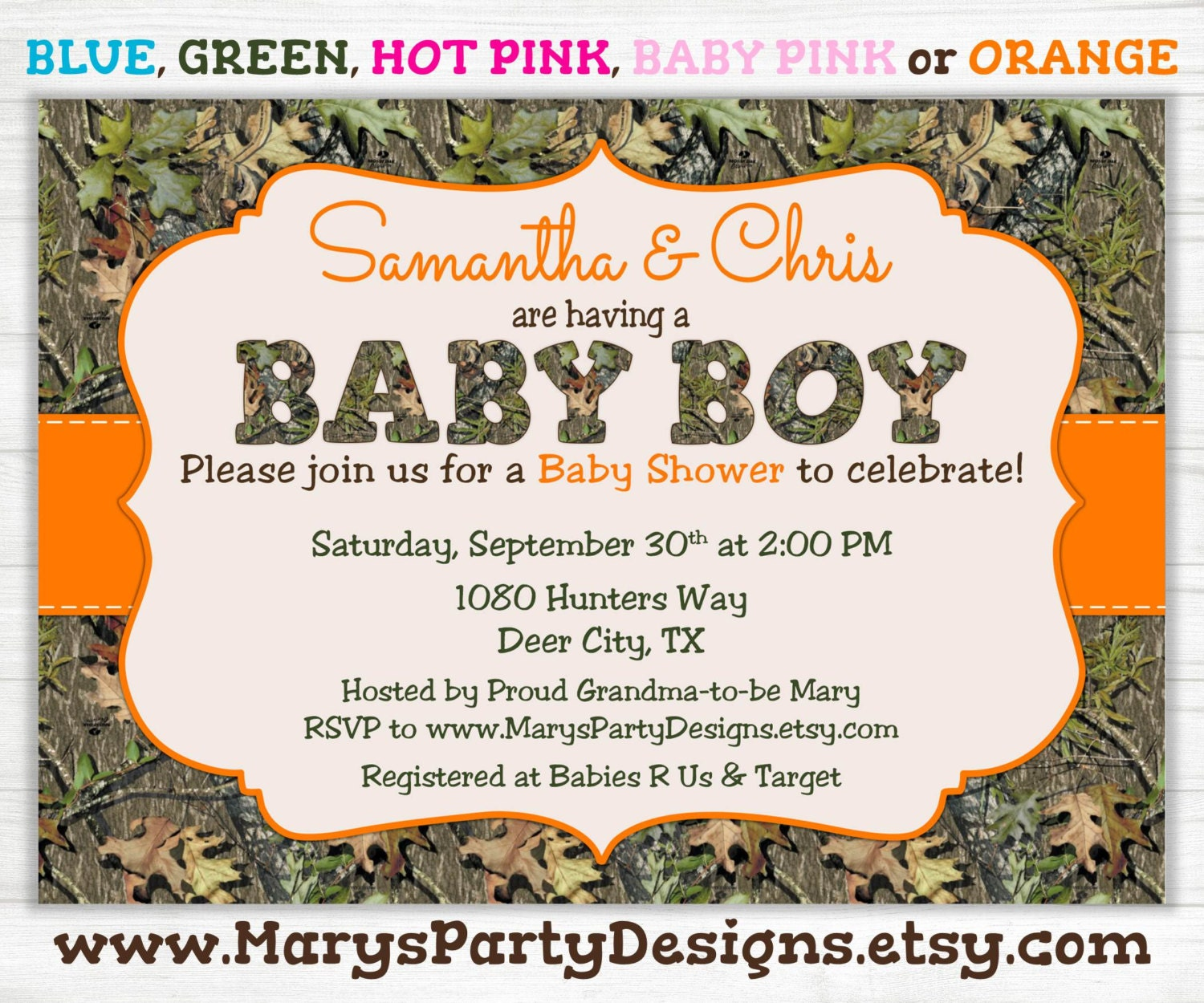 camo boy baby shower invitation oak camouflage hunting