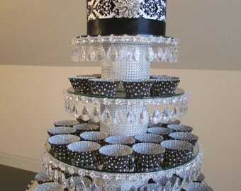 Crystal Teardrop 4 Tiered Cupcake Stand